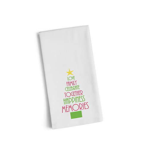 Words Christmas Tree 3 Flour Towel