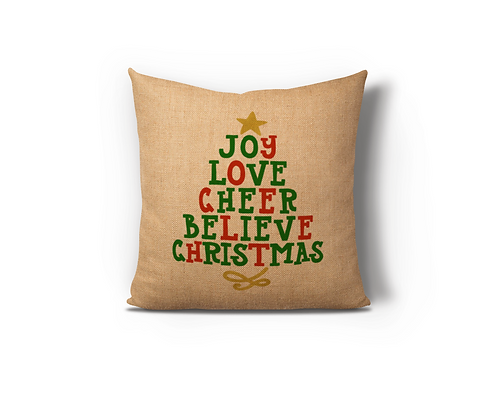 Joy Love Cheer Believe Christmas Burlap Pillow Case