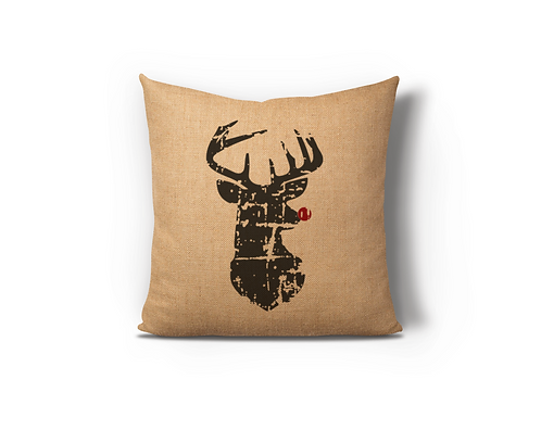 Distressed Reindeer Red Burlap Pillow Case