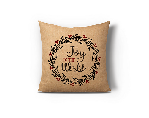 Joy To The World Wreath Burlap Pillow Case
