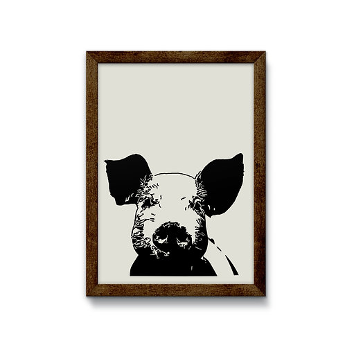 Pig Reverse Canvas Sign