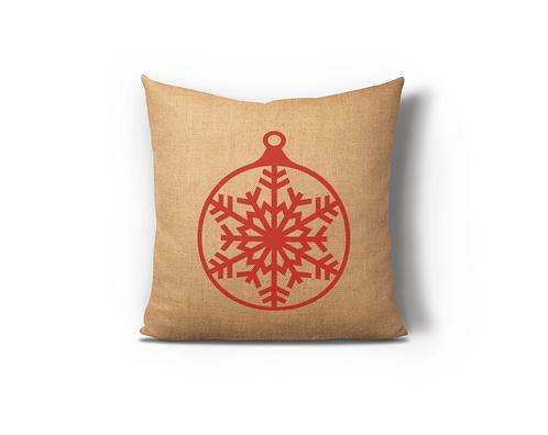 Red Snowflake Burlap Pillow Case