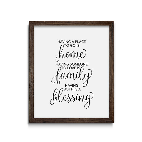Home Family Blessing  Reverse Canvas