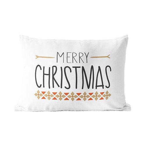 Merry Christmas Gold Pattern Queen Pillow Case