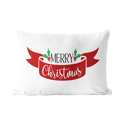 Merry Christmas Ribbon Queen Pillow Case