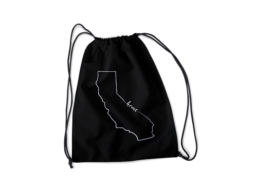 California Home Outline Drawstring Bag