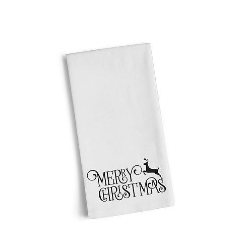 Merry Christmas Script Reindeer Flour Towel