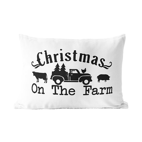 Christmas on the Farm Queen Pillow Case