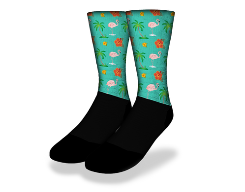Flamingo Paradise Socks - Sea Green