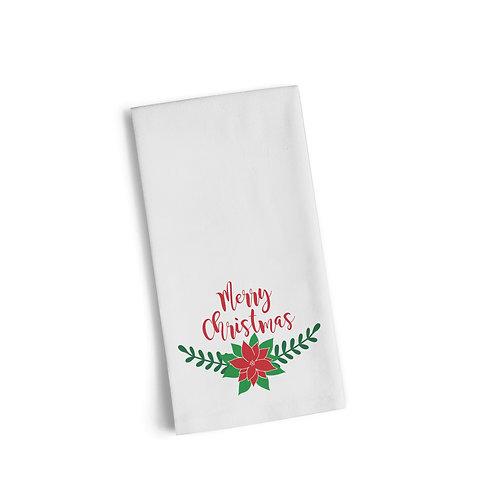 Merry Christmas Floral Flour Towel