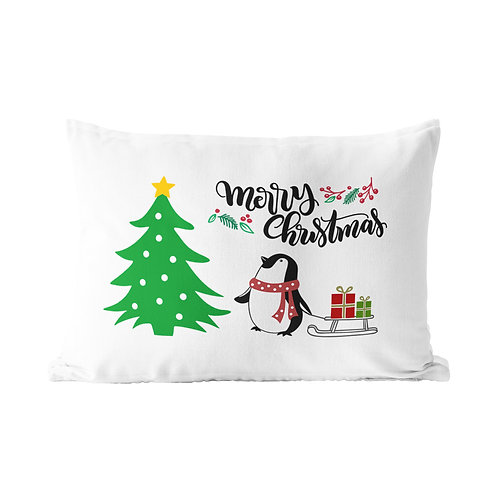 Christmas Penguin Queen Pillow Case