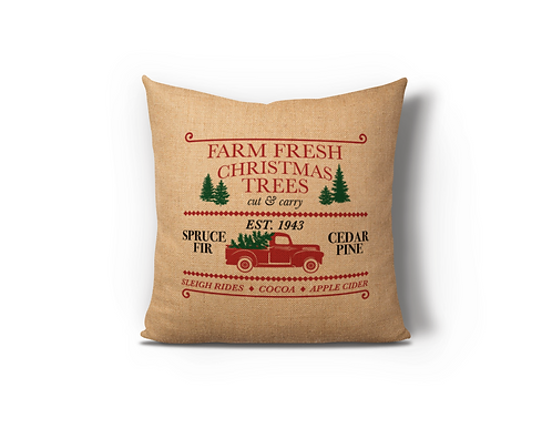Farm Fresh Christmas Trees Burlap Pillow Case