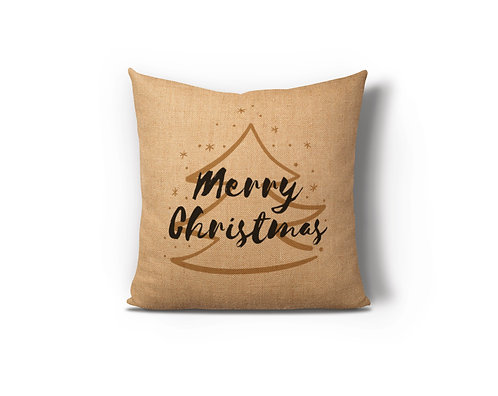 Merry Christmas Gold Tree Burlap Pillow Case