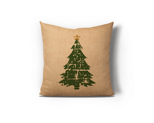 Distressed Christmas Tree Burlap Pillow Case