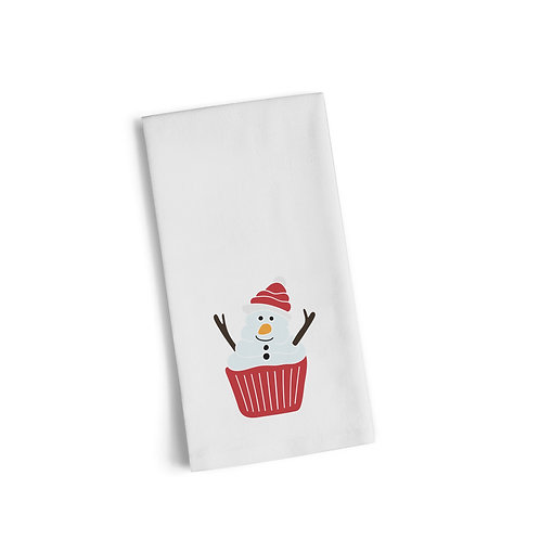 Snowman Cupcake Flour Towel