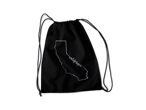 California CA Outline Drawstring Bag
