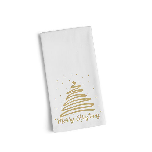 Merry Christmas Gold Tree Flour Towel