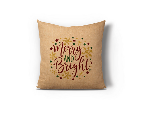 Merry & Bright II Burlap Pillow Case