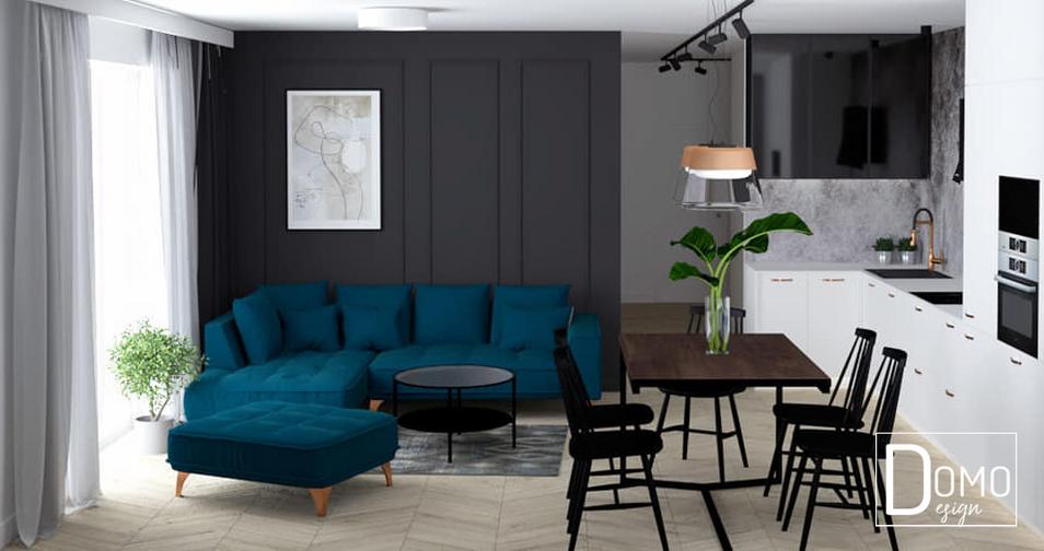 Salon z otwartą kuchnią w mieszkaniu, Tychy