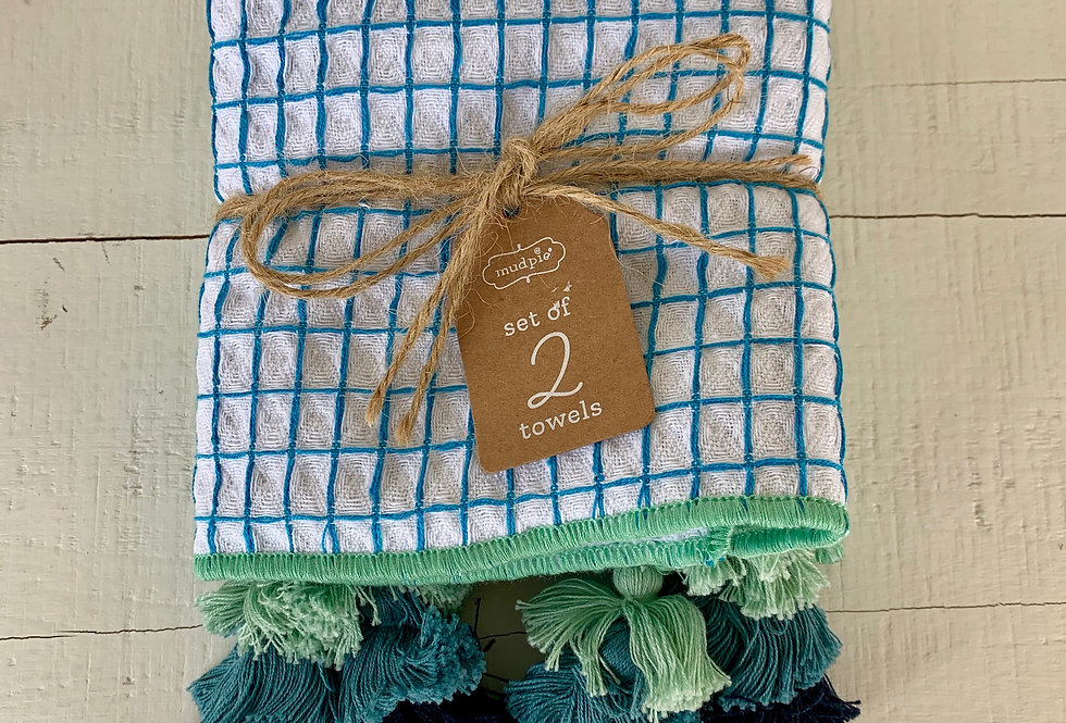 Set of 2 Kitchen Towels with Tassels - Blue