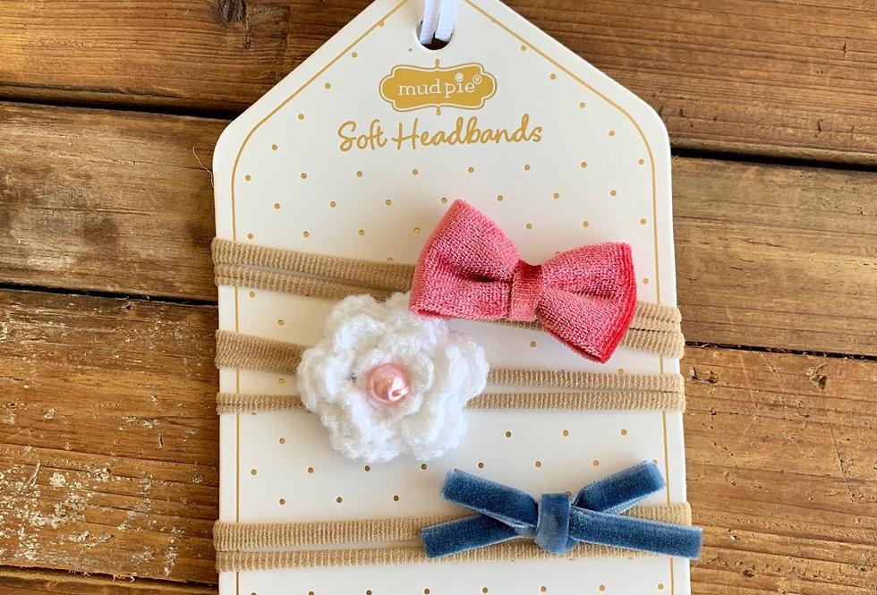 White Flower Headband Set
