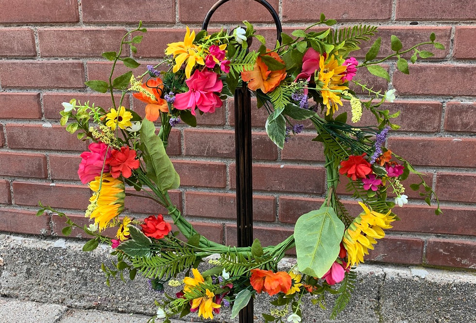 Sunflower Primrose Daisy Wreath