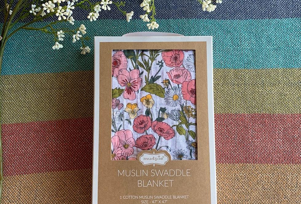 Floral Muslin Swaddle Blanket