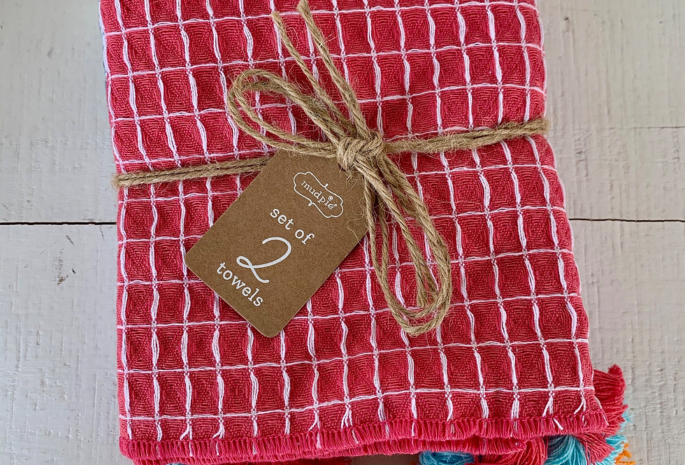 Set of 2 Kitchen Towels with Tassels - Pink