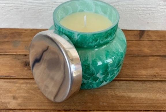 capri BLUE Mint Watercolor Volcano Candle