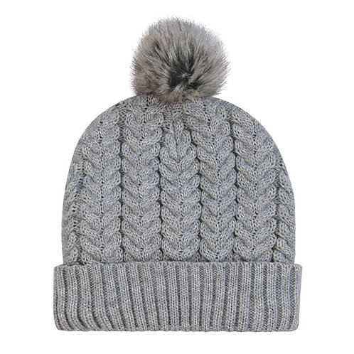 Aroma Home Cable Knit Beanie - Grey