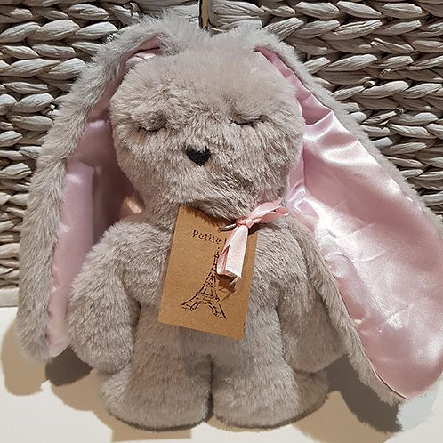 Petite Vous Flat Bunny Comforter - Grey with Pink Ears