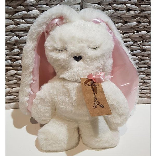 Petite Vous Flat Bunny Comforter - White with Pink Ears