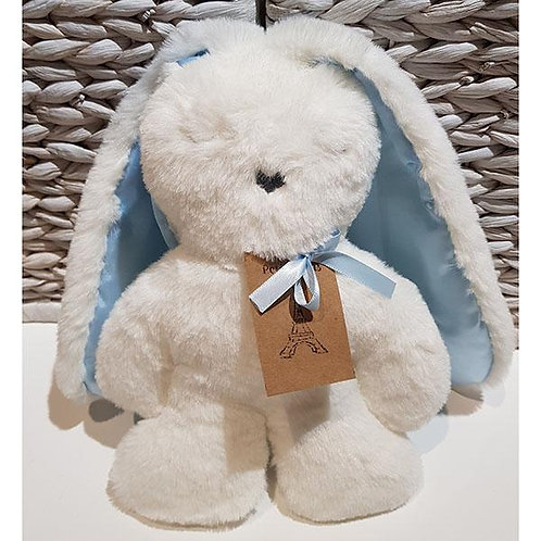 Petite Vous Flat Bunny Comforter - White with Blue Ears