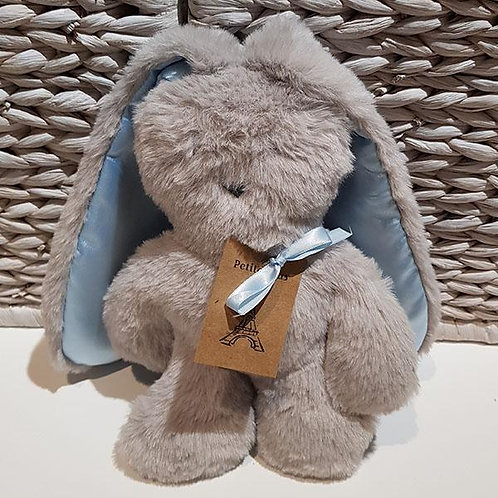 Petite Vous Flat Bunny Comforter - Grey with Blue Ears