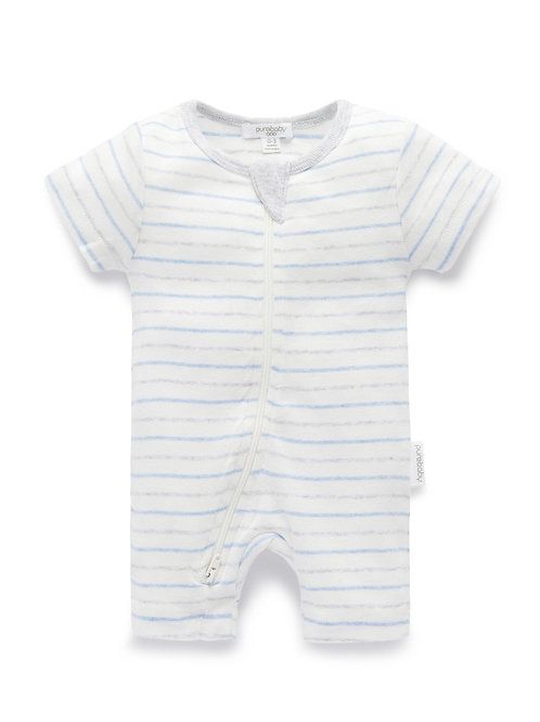 Pure Baby Short Zip Growsuit Blue Bush Stripe - Size 0