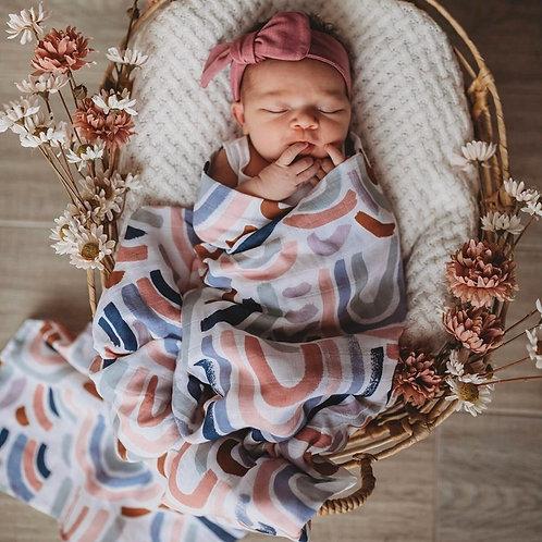 Snuggle Hunny Organic Muslin Wrap - Rainbow Baby