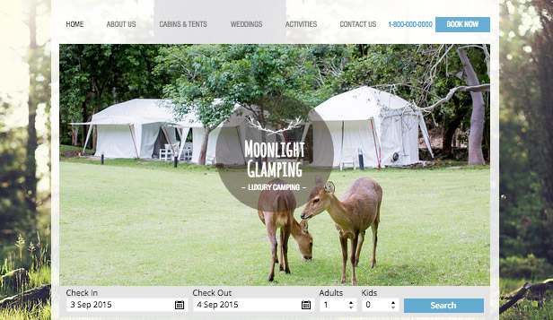 Accommodation website templates – Luxury Camping