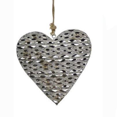 Mittelgrosse Girlande mit Herz Anhänger Metall Zopf