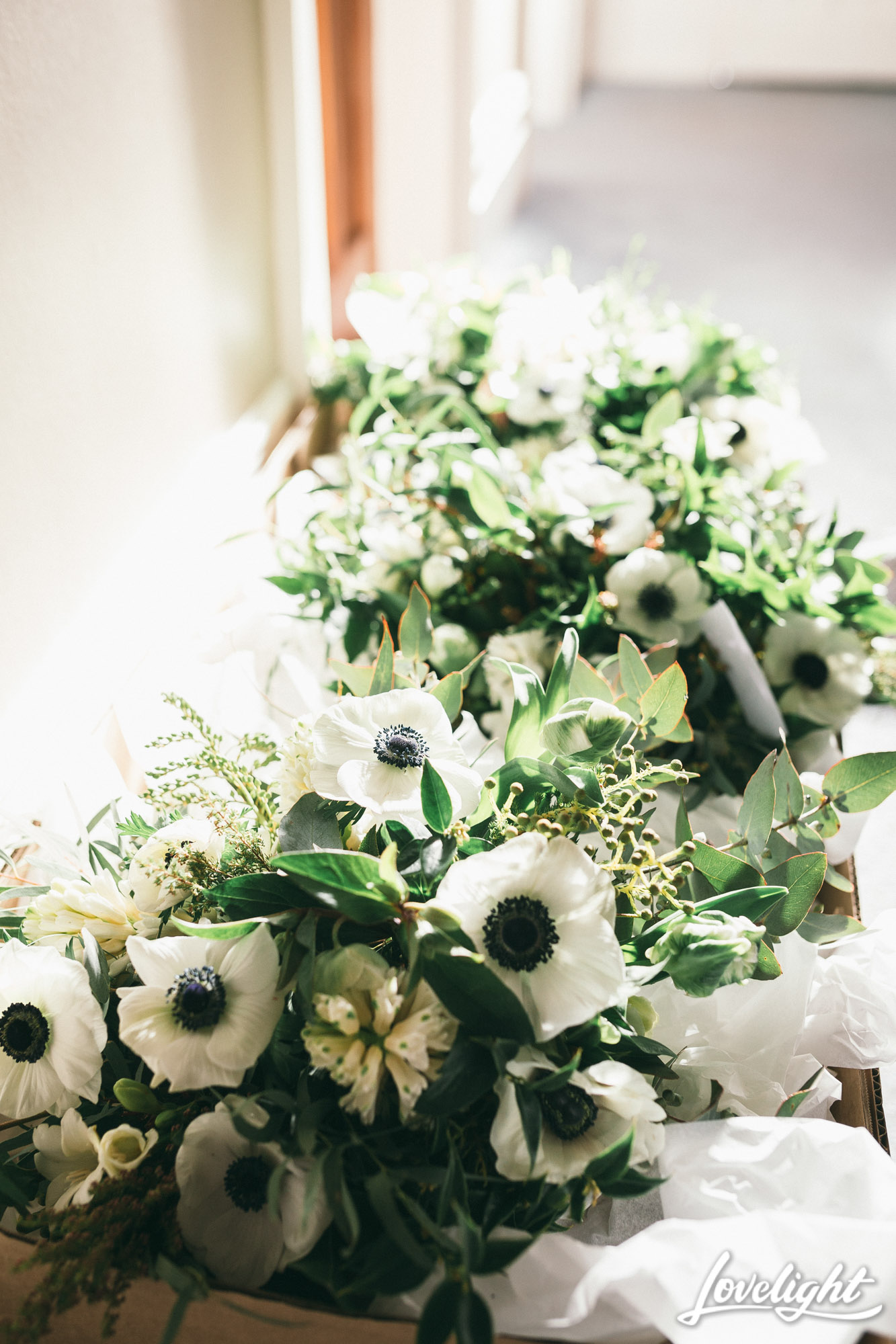green and white wedding posy