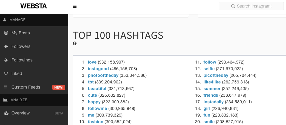 Websta tool to search for popular Hashtags