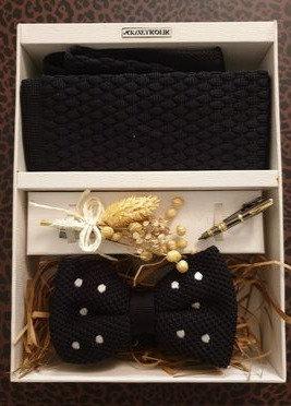4 Pcs Gift Set: Black Dobby Tie, Bow Tie, Tie Clip, Flower Lapel Pin