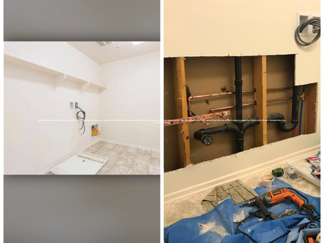 New Plumbing installed behind this laundry wall. Customer wanted to add a sink to their laundry room