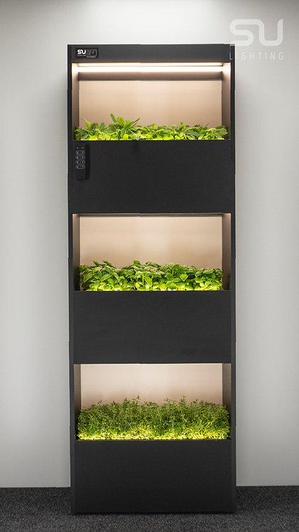 HERB plant shelf black on wheels