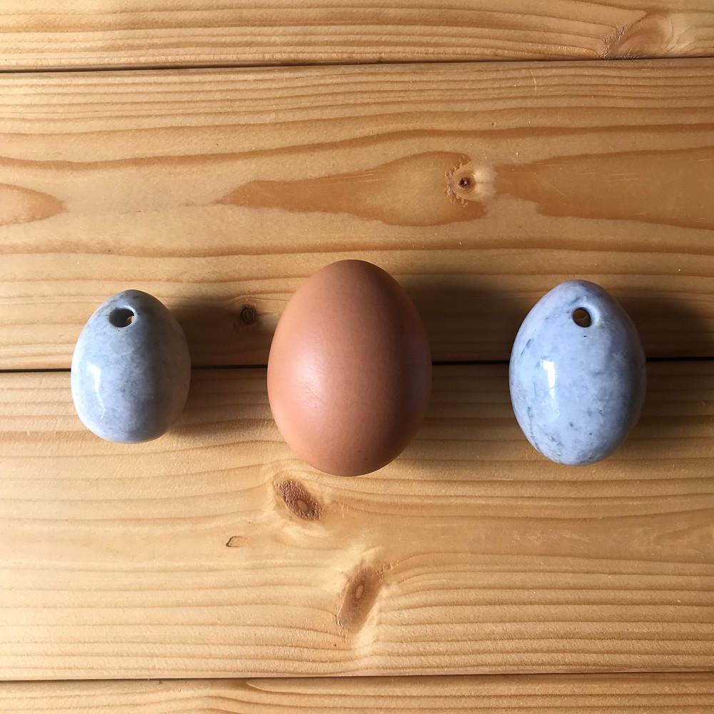 中央が鶏卵、左がMサイズ、右がLサイズ
