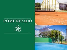 Horários das quadras de tênis e padel a partir de 10/04