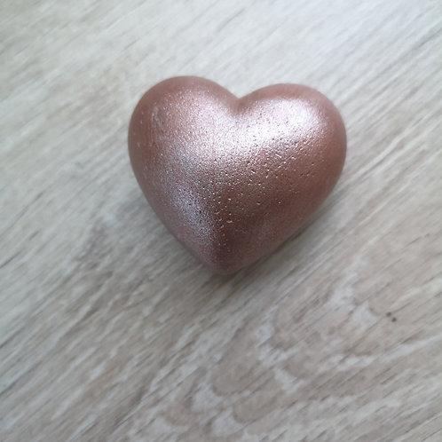 coeur en béton peint rose/doré (petit)