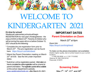 Kindergarten Orientation is Coming March 23 @ 6PM!