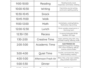Our students find comfort in routines. Please consider using a schedule like this during our school