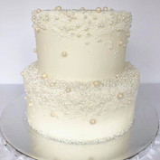 Edible sugar pearl covered cake