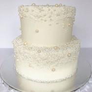 Edible sugar pearl covered cake